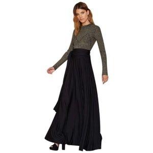 NWT Nasty Gal Black Flowy Waist Wrap Maxi Skirt